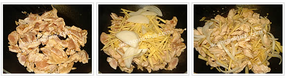 Preparation for Chicken with Ginger Stir-fried: No.6 Stir fry until the chicken is getting cook, add shredded ginger and sliced onion, stir well