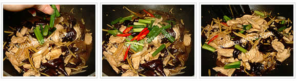 Preparation for Chicken with Ginger Stir-fried: No.8 Add green onion and sliced chilies, stir quickly and remove from heat