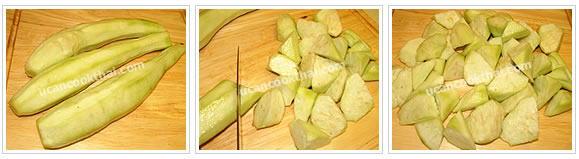 Preparation for Stir-fried Sponge Gourd: No.1 Peel sponge gourd, wash dirt and cut into pieces