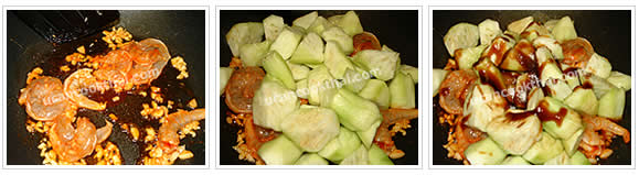 Preparation for Stir-fried Sponge Gourd: No.5 When prawns are getting cook, add sponge gourd, then season with sauce and sugar