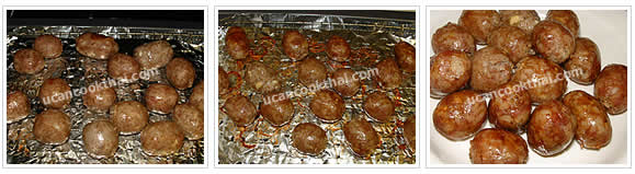 Preparation for Thai Style Sausage: No.9 Bake until the sausages are browned on all sides, remove from oven