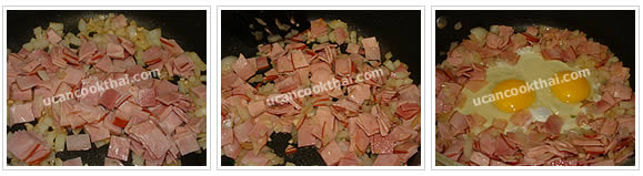 Preparation for Pineapple Fried Rice: No.6 Add ham, stir-fry until ham is getting cook, add eggs
