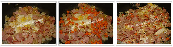 Preparation for Pineapple Fried Rice: No.8 When eggs are set, cover with ham, return the eggs, add carrot and stir-fry thoroughly