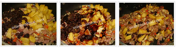 Preparation for Pineapple Fried Rice: No.9 Add pineapple and raisins, season with all ingredients and stir well
