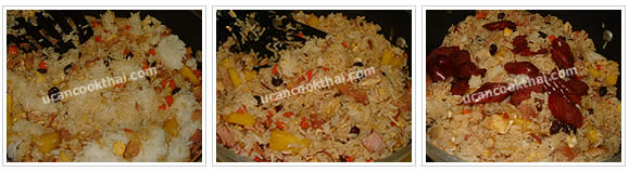 Preparation for Pineapple Fried Rice: No.11 Stir-fry all ingredients mix together, add sliced Chinese sausages