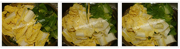 Preparation for Mixed Vegetable Soup: No.2 Cut cabbage and bok choy into 1 inch length, wash, pat dry and set aside