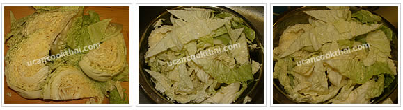 Preparation for Mixed Vegetable Soup: No.3 Cut savoy cabbage, soak in water for 15 minutes, pat dry and set aside