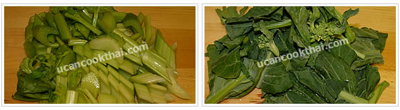Preparation for Mixed Vegetable Soup: No.4 Wash celery and Chinese broccolis, pat dry and cut into pieces