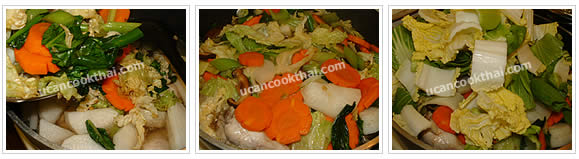 Preparation for Mixed Vegetable Soup: No.10 Transfer stir-fried vegetable into the pot, stir well, wait until boil, add cabbage and bok choy