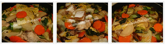Preparation for Mixed Vegetable Soup: No.11 Stir thoroughly, season with the remaining ingredients and mix well