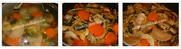 Preparation for Mixed Vegetable Soup: No.12 Cover the pot and simmer for 2-3 hours or until the vegetable are soft and tendered