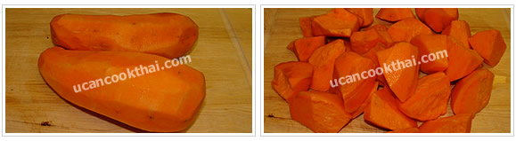 Preparation for Sweet Potato in Ginger Syrup: No.2 Peel sweet potato, clean and cut into pieces