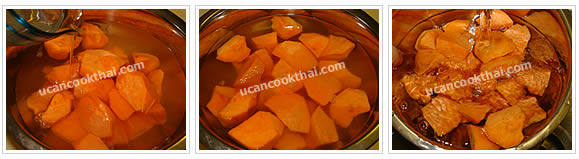 Preparation for Sweet Potato in Ginger Syrup: No.3 Soak sweet potatoes in limewater for 10 minutes, drain, rinse and set aside