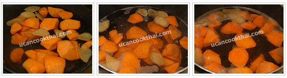 Preparation for Sweet Potato in Ginger Syrup: No.6 Add sweet potatoes and continue boiling until they are cook