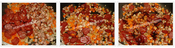 Preparation for BBQ Pork Fried Rice: No.6 Add Chinese sausages and BBQ pork, stir fry thoroughly and season with all ingredients