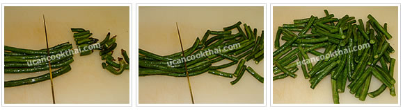 Preparation for Stir-fried Pork with Red Curry Paste and Long Green Bean: No.1 Cut long green beans into 1 inch length