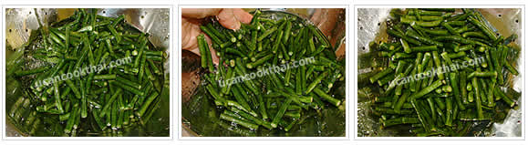 Preparation for Stir-fried Pork with Red Curry Paste and Long Green Bean: No.2 Put in microwave for 2 minutes, shock with cold water, drain and set aside