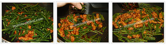 Preparation for Stir-fried Pork with Red Curry Paste and Long Green Bean: No.7 Add long green bean, stir-fry quickly, then add finely sliced kaffir lime leaves and stir-fry for 30 seconds, then remove from heat