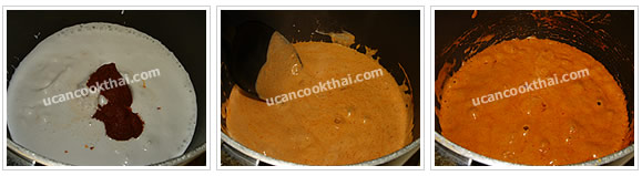 Preparation for Pork Red Curry with Chayote: No.4 Stir red curry paste and coconut cream until mix well and let it boil until some oil appear on surface, stir constantly