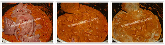 Preparation for Pork Red Curry with Chayote: No.5 Add pork, stir well until the pork is getting cook. Meanwhile, add coconut milk 2 Tbsp each time and stir regularly