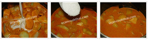 Preparaton for Pork Red Curry with Chayote: No.6 Add chayote, stir well and add the remaining coconut milk. Season, stir thoroughly and taste.
