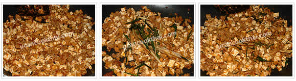 Preparation for Stir-fried Spicy Tofu and Ground Pork: No.5 When pork is cook, add krachai, kaffir lime leaves, and young pepper corn, then stir fry until all ingredients mix well