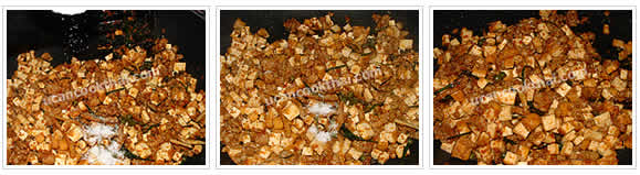 Preparation for Stir-fried Spicy Tofu and Ground Pork: No.6 Season with sugar and fish sauce, stir well and remove from heat