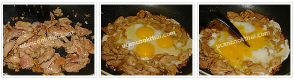 Preparation for Stir-fried Wide Rice with Chicken: No.6 When chicken is getting cook, add eggs, scramble and spread in a thin layer