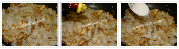 Preparation for Stir-fried Wide Rice with Chicken: No.8 Stir-fry thoroughly, season with seasoning soy sauce and sugar
