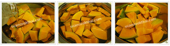 Preparation for Pumpkin in Coconut Cream: No.3 Soak pumpkins in limewater for 15 minutes, drain, rinse and set aside