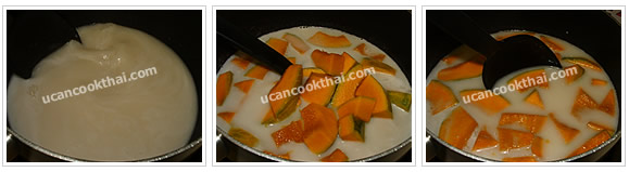 Preparation for Pumpkin in Coconut Cream: No.6 Stir until dissolve, add pumpkins, and let it boil for 15 minutes