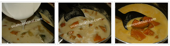 Preparation for Pumpkin in Coconut Cream: No.7 Add coconut cream, stir together, reduce to low heat and let it boil again, then remove from heat