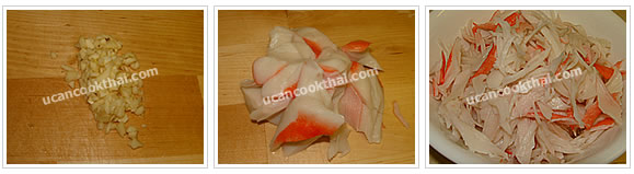 Preparation for Imitation Crabmeat Fried Rice: No.1 Mince garlic and tear imitation crabmeat into small strip