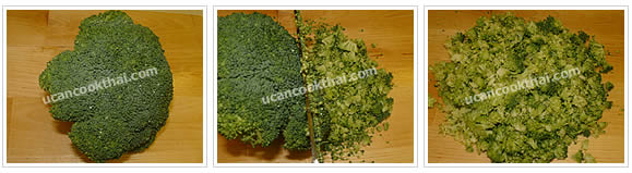 Preparation for Imitation Crabmeat Fried Rice: No.2 Slice broccoli flower into small pieces