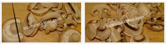Preparation for Spicy Mushroom Dip: No.2 Clean mushroom and slice into pieces