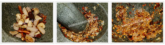 Preparation for Spicy Mushroom Dip: No.5 Well pound dry fried ingredients in a mortar