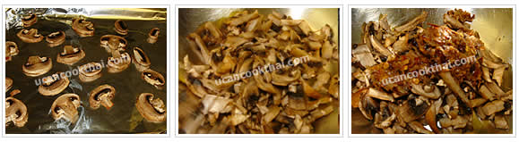 Preparation for Spicy Mushroom Dip: No.6 Cut baked mushrooms into strip, put in a mixing bowl and add pounded ingredients