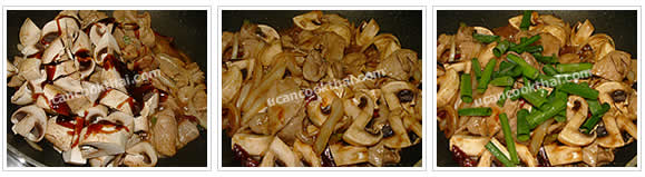 Preparation for Stir-fried Prok with Oyster Sauce: No.5 Add mushroom, season with oyster sauce, stir-fry quickly, add green onion, stir0fry twice, then remove from heat