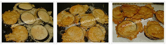 Preparation for Fried Eggplant with Egg: No.6 Fry until golden brown on each side, drain on a rack with paper towel