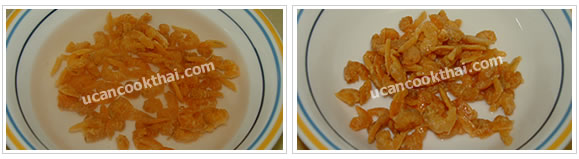 Preparation for Spicy Shrimp Paste Dip: No.1 Soak dried shrimp for 5 minutes, drain and set aside