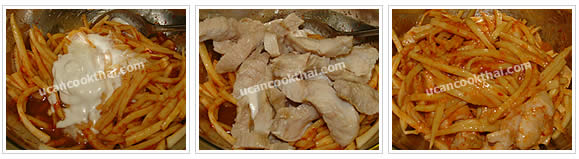Preparation for Spicy Bamboo Shoots with Snapper: No.5 Add coconut cream and snapper, mix thoroughly