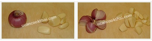 Preparation for Spicy Ground Pork Dip: No.1 Cut garlic and shallot into small pieces