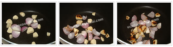 Preparation for Spicy Ground Pork Dip: No.2 Dry fry garlic and shallot until fragrant and soften