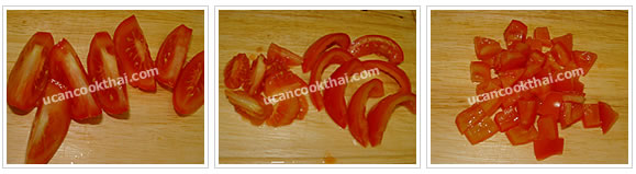 Preparation for Spicy Grilled Pork Salad: No.3 Cut tomato into small dices