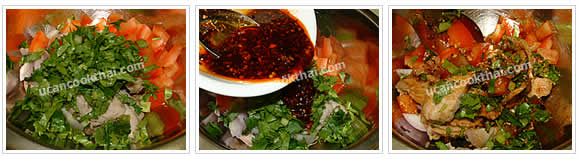 Preparation for Spicy Grilled Pork Salad: No.5 Add all vegetable and dressing in grilled pork mixing bowl and stir thoroughly
