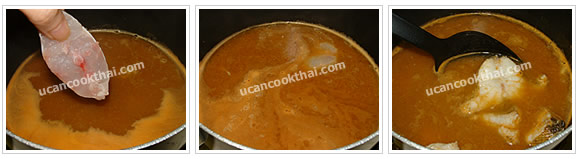 Preparation for Yellow Sour Curry: No. 5 When curry is boiling, add cut fish and wait until the curry is boiling again