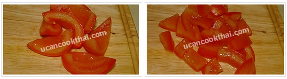 Preparation for Spicy steamed-chicken salad: No.5 Cut tomato in 6 parts, remove seed and cut into small dices