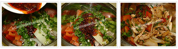 Preparation for Spicy steamed-chicken salad: No.8 Add prepared vegetable and dressing in the bowl, then stir thoroughly
