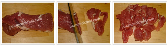 Preparation for Pork Red Curry with Pumpkin: No.1 Cut pork tenderloin into small pieces
