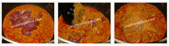 Preparation for Pork Red Curry with Pumpkin: No.5 Add pork, stir well until the pork is getting cook, add coconut milk and stir regularly
